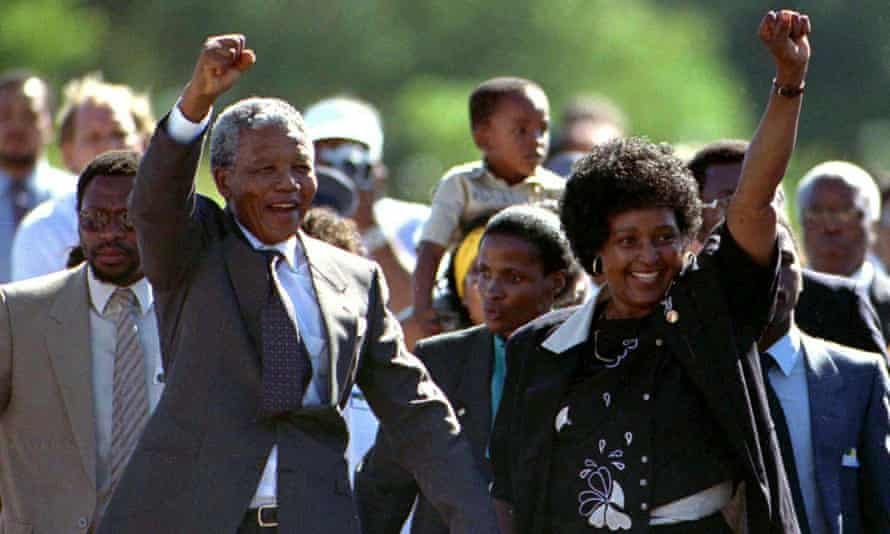 Nelson Mandela with his wife Winnie, following his release from Victor Verster prison, February 1990