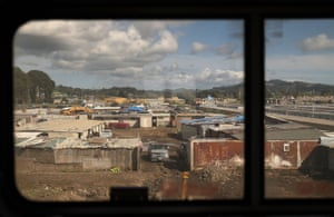 Residential properties and the Chevron refinery in Richmond, as seen through the window of Amtrak's California Zephyr passenger train.