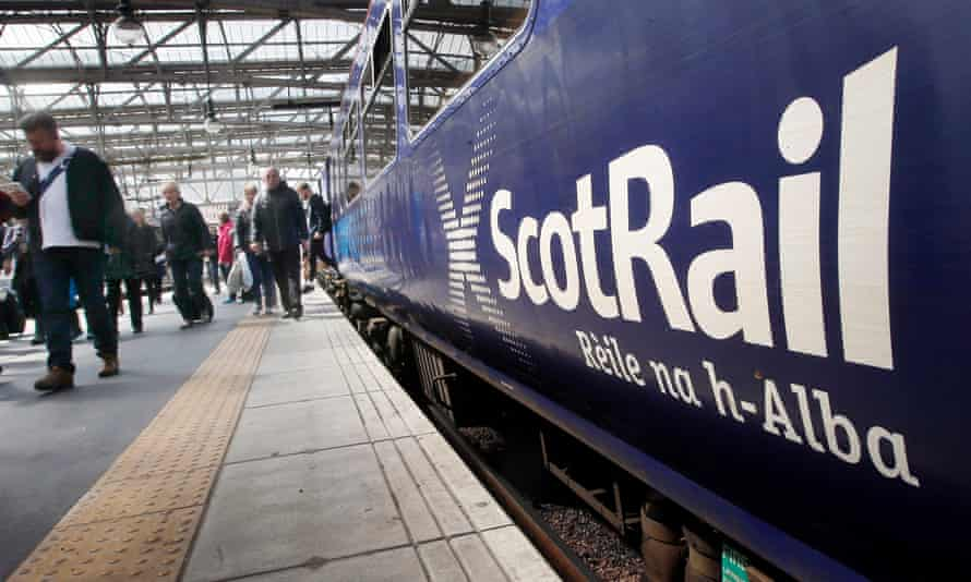 A ScotRail train operated by Abellio at Glasgow Central Station