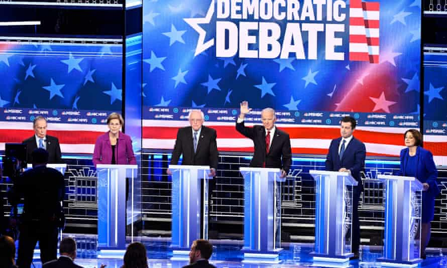 Democratic presidential debate in Las Vegas<br>epa08229639 A handout photo made available by NBC News shows Democratic Presidential candidates (L-R) former NYC Mayor Michael R. Bloomberg, Massachusetts Senator Elizabeth Warren,Vermont Senator Bernie Sanders, former Vice President Joe Biden, former South Bend Mayor Pete Buttigieg and Minnesota Senator Amy Klobuchar attending the ninth Democratic presidential debate at the Paris Theater in Las Vegas, Nevada, USA, 19 February 2020. EPA/NBC NEWS HANDOUT MANDATORY CREDIT: NBC NEWS HANDOUT EDITORIAL USE ONLY/NO SALES