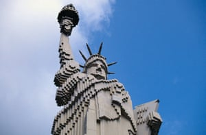 The statue at Legoland Billund in Denmark is constructed entirely from Lego bricks