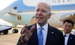 Joe Biden speaks to the media before boarding Air Force One in Geneva.