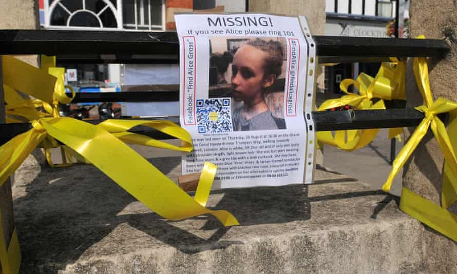 A missing persons poster following the disappearance of 14-year-old Alice Gross.