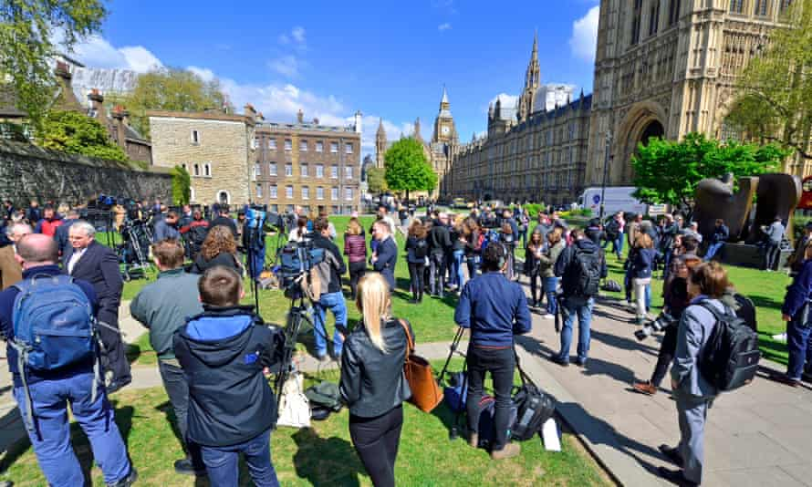 Members of the media on College Green, Westminster, on 18 April 2017, shortly after a general election was called.
