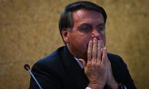 "Jair Bolsonaro, President of Brazil looks on during the launch ceremony of the ""Mineracao e Desenvolvimento"" Program on September 28, 2020 in Brasilia, Brazil. (Photo by Andre Borges/Getty Images)"