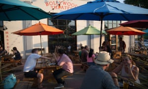 Outdoor tables at Bollywood Theater, SE Division Street, Portland, Oregon.