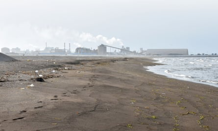 The state-owned Tunisian Chemical Group's phosphate processing plant, close to the Chott Essalem beach and in front of a rare coastal oasis in Gabes