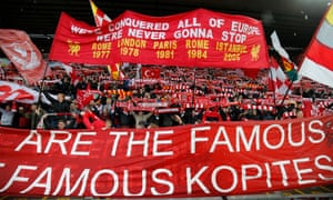 The Kop in full voice just before the Liverpool v Roma Champions League semi-final at Anfield on 24 April 2018