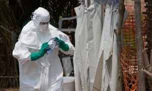 A health worker at an Ebola isolation centre in Kampungu, Democratic Republic of the Congo, during an outbreak in 2007.