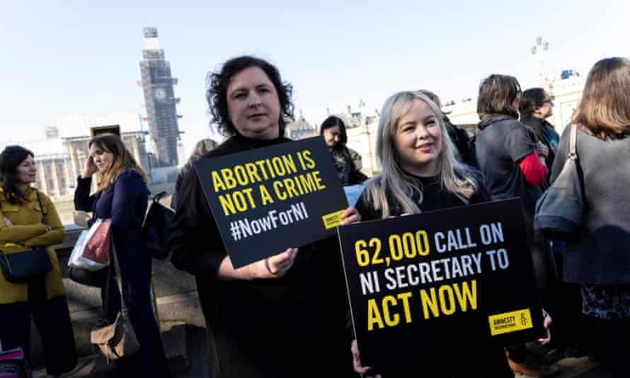 Derry Girls actors Siobhan McSweeney (left) and Nicola Coughlan take part in the abortion protest in central London