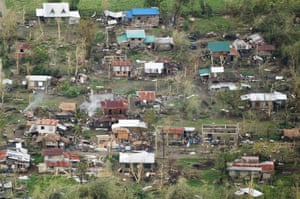 An aerial photo shows houses destroyed at Tuguegarao City, Cagayan province, Philippines