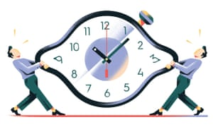 Illustration of two people pulling each side of a clock