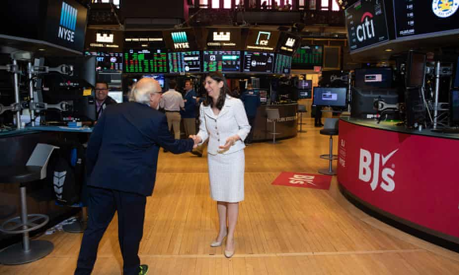 Stacey Cunningham on the floor of the NYSE