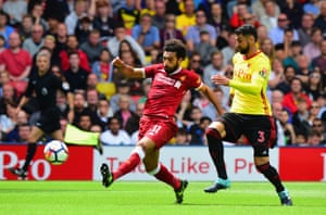 Mohamed Salah should do better but shoots well over from close range.