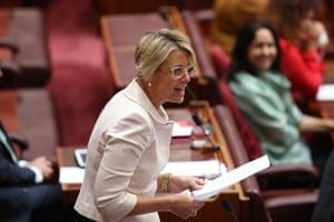 Kristina Keneally mid-question