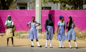 Gambian students are seen during their daily life in Banjul, Gambia on January 27, 2020.