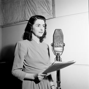 June Spencer as a rep actor with the BBC Midland Home Service in 1946.