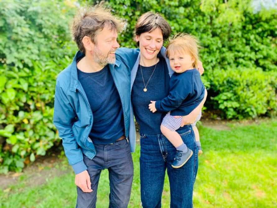 Gibsone and her husband, Mark, with their son in May 2021