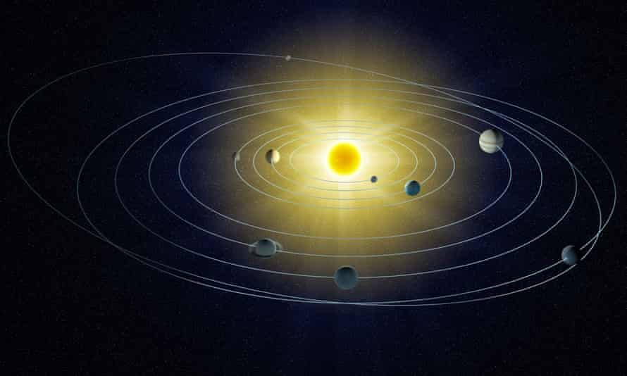 An artist's depiction of the solar system