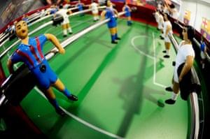 A table football inside La Masia