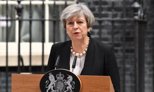 PM Theresa May gives her Manchester bombing statement outside 10 Downing Street, London.