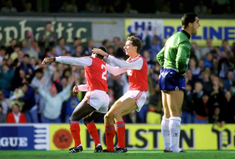 Michael Thomas celebrates with Alan Smith after scoring the winner for Arsenal at Tottenham in 1987.