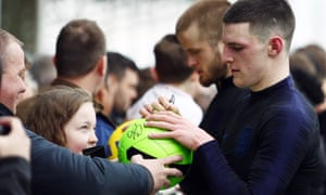 Declan Rice signs autographs for England fans at St George's Park after his first call-up by Gareth Southgate.
