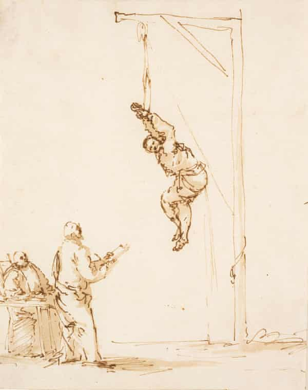 The Inquisition Scene, an ink and brown wash sketch created in the mid- to late-1630s.