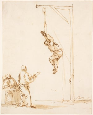 Inquisition Scene (mid to late 1630s), pen and ink and brown wash by Ribera.