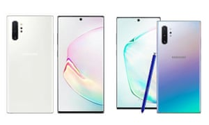 Leaked press images of Samsung's Galaxy Note 10 posted by the German technology site WinFuture.