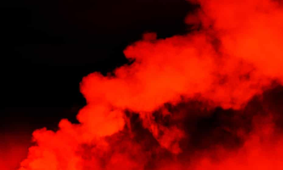 Red clouds in a dark sky