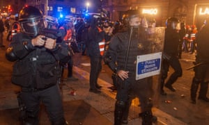 A police stand-off with protesters in Barcelona last week.