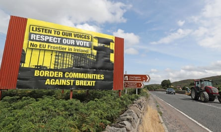 Billboards on the northern side of the border between Newry in Northern Ireland and Dundalk in the Republic of Ireland