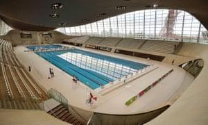 The London Aquatics Centre, designed by Zaha Hadid and built for the 2012 Olympics.