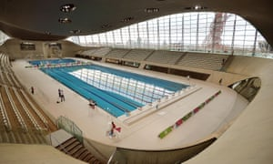 The London Aquatics Centre, designed by Zaha Hadid and built for the 2012 Olympic Games.
