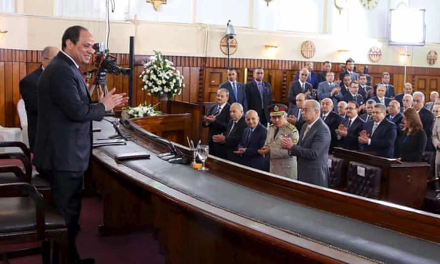 Egyptian president Abdel Fattah al-Sisi addresses the Supreme Judicial Council on 23 April.