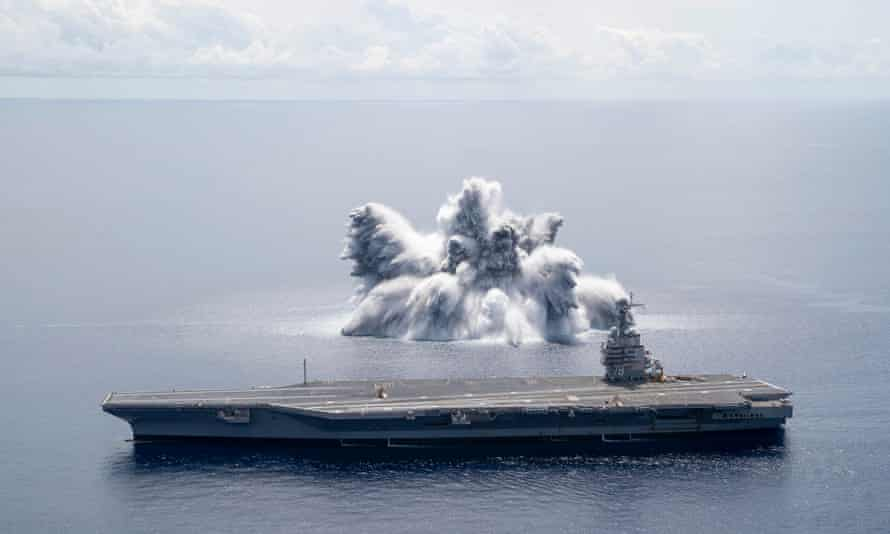 The aircraft carrier USS Gerald R Ford completed the first scheduled explosive event of Full Ship Shock Trials in the Atlantic Ocean, on 18 June 2021.