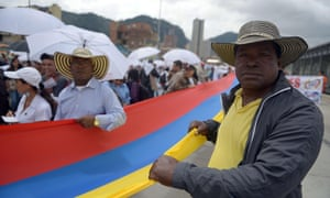 People march during a rally for peace in tribute to the victims of 50 years of conflict in Colombia last week.