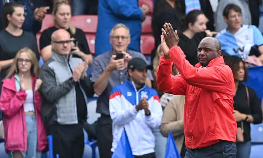Patrick Vieira applauds the Crystal Palace fans at the final whistle.