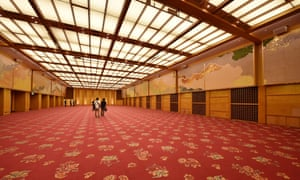 The banquet hall at the Okura hotel, where western modernism met traditional Japanese design.