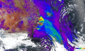 A satellite showing a build-up of smoke and heat over NSW