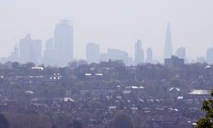 High air pollution in London.