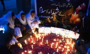 vigil in the city of Lahore, Pakistan