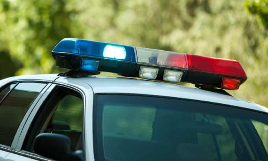USA, police car with lights on