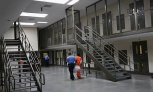The detention facility in Adelanto, California, is run by the private Geo Group.