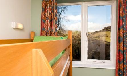 Dorm beds and view at Ravenstor YHA