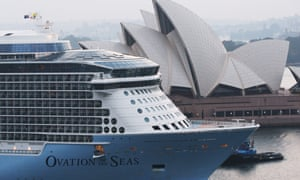 Royal Carribbean cruise ship Ovation of the Seas in Sydney Harbour on 16 December 2019