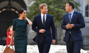 The Duke and Duchess of Sussex with the taoiseach, Leo Varadkar