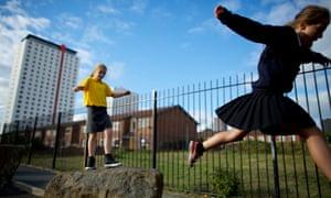 Children play in Salford. Correspondent Jim Johnson recalls similar games when he was a child
