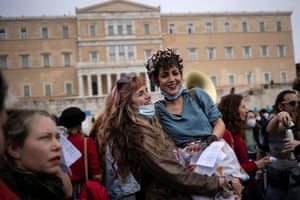 Athens, Greece Women join a demonstration in front of the parliament building